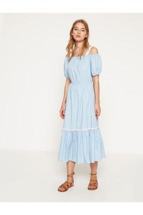 فستان نسائي مزموم الخصر - ازرق