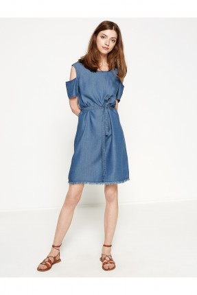 فستان نسائي مع ربطة خصر - ازرق