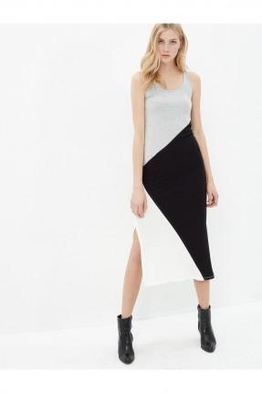 فستان نسائي بفتحة جانبية - رمادي
