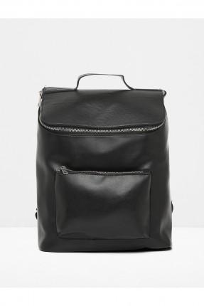 حقيبة ظهر جلد نسائية - اسود