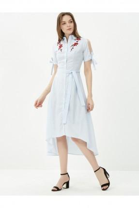 فستان نسائي مطرز مفتوح الاكمام - ازرق