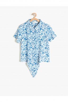 قميص اطفال بناتي مزخرف - ازرق