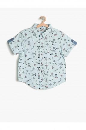 قميص اطفال ولادي مطبوع - ازرق