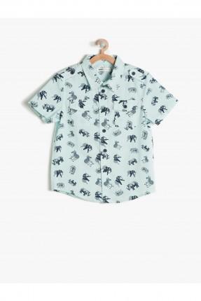 قميص اطفال ولادي مطبوع - اخضر