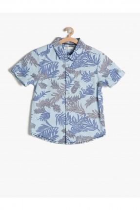 قميص اطفال ولادي نقشة - ازرق