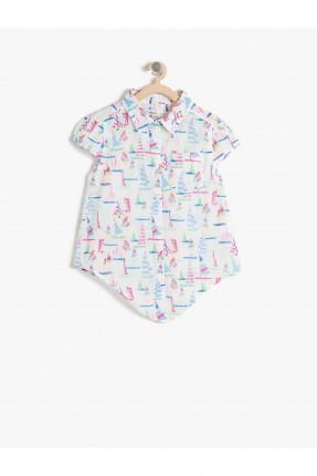 قميص اطفال بناتي مزخرف - ابيض