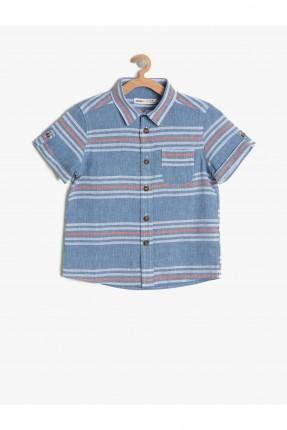 قميص اطفال ولادي مقلم - نيلي