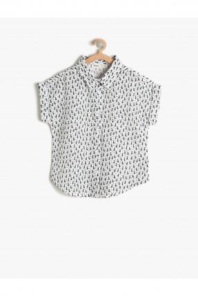 قميص اطفال بناتي منقش - اسود