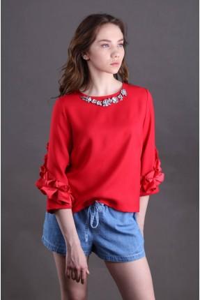 بلوز مع الماسات - احمر