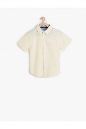 قميص اطفال ولادي مع جيبة - اصفر