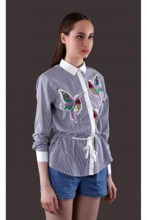 قميص نسائي مطرز - نيلي