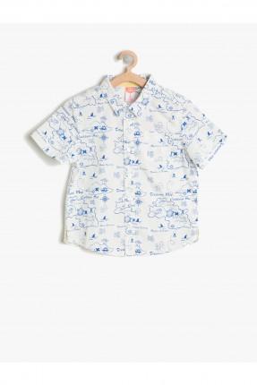 قميص بيبي ولادي مطبوع - ابيض