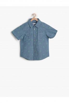 قميص اطفال ولادي جينز نقشة - كحلي