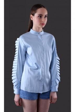 قميص نسائي باكمام مكشكشة - ازرق