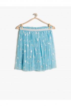 تنورة اطفال بناتي منقشة - ازرق