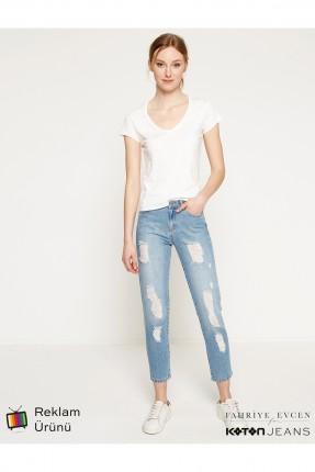بنطال نسائي جينز  ضيق مع شقوق - ازرق