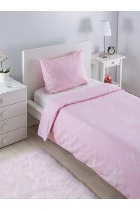 طقم غطاء لحاف سرير مفرد / وردي