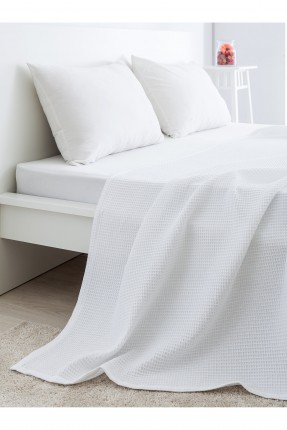 غطاء سرير مزدوج قطني /200 * 220 / ابيض