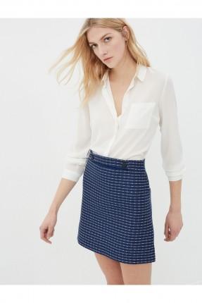 تنورة قصيرة منقوشة - ازرق