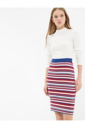 تنورة قصيرة ضيقة مقلمة - احمر