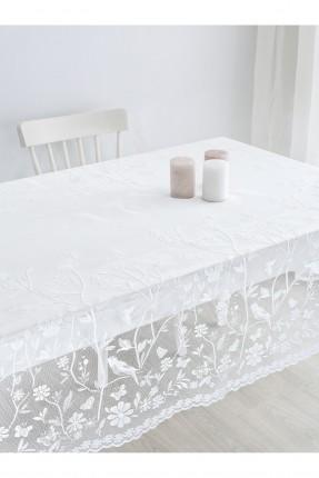 غطاء طاولة دانتيل مزخرف - ابيض
