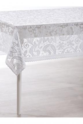 غطاء طاولة دانتيل فاخر - ابيض
