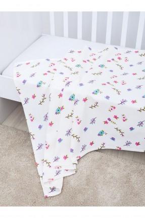 غطاء سرير بيبي مع رسومات  / 100 * 150 / لبيض