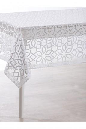 غطاء طاولة دانتيل فاخر / 150 * 220 / ابيض