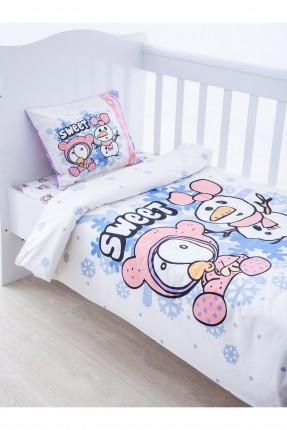 طقم غطاء سرير بنت مع رسومات وجهين - ابيض