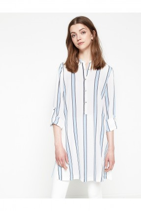 قميص نسائي مقلم طويل - ازرق
