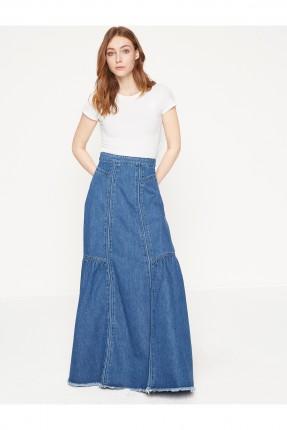 تنورة جينز طويلة - ازرق