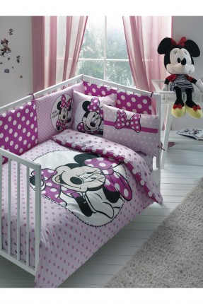 طقم غطاء سرير بيبي / 3 قطع / وردي