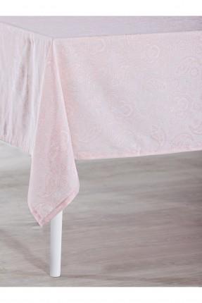 غطاء طاولة منقوش / 150 * 220 / وردي
