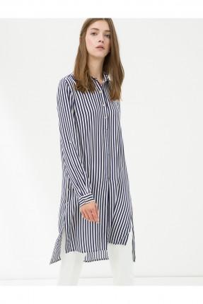 قميص نسائي طويل - ازرق داكن