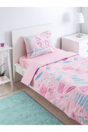 طقم غطاء سرير بيبي بنات مع رسومات - وردي