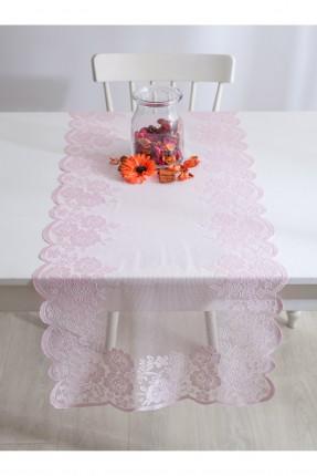 غطاء طاولة دانتيل مزخرف - وردي