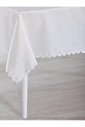 غطاء طاولة مزخرف - ابيض