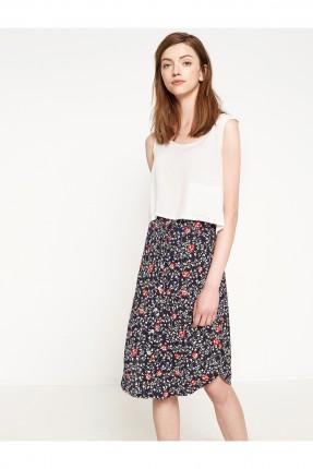 تنورة قصيرة منقوشة - كحلي