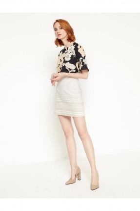 تنورة قصيرة منقوشة - بيج