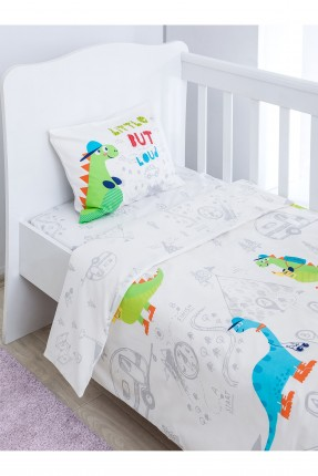 طقم غطاء سرير بيبي ولد - ابيض