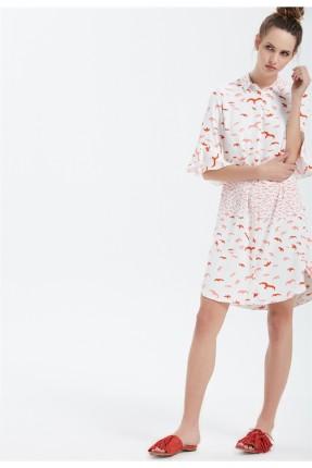 فستان سبور مطبوع - ابيض