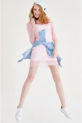 فستان قصير - وردي