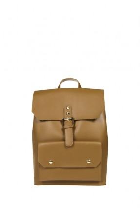 حقيبة ظهر جلد نسائي - بني