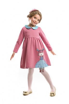 فستان اطفال بناتي مع نقشة - وردي