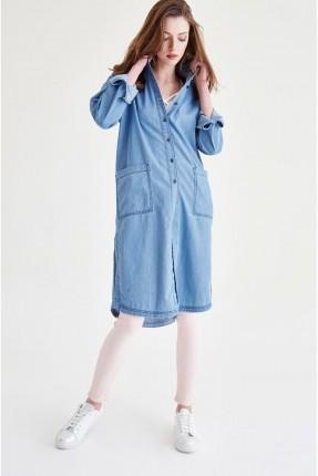 قميص نسائي جينز كم طويل - ازرق