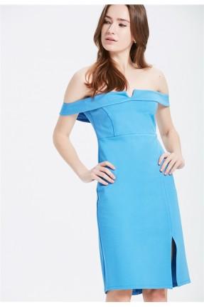 فستان سبور كتف مفتوح - ازرق