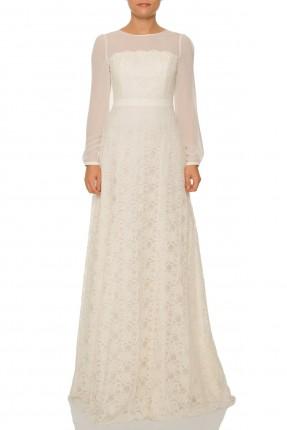 فستان رفاف دانتيل - ابيض