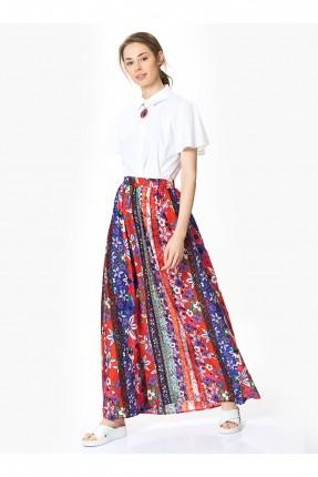 تنورة طويلة كسرات ملونة