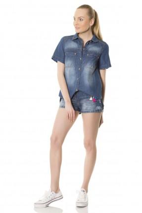 قميص جينز نسائي - ازرق
