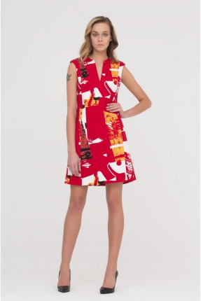 فستان بدون اكمام - احمر